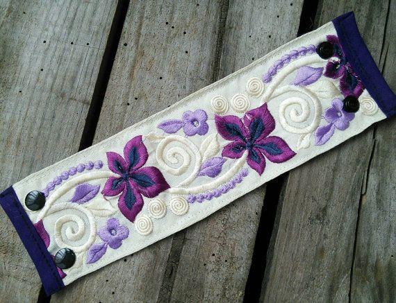 Embroidered wrist cuff  gypsy style bracket ethnic by Urbanmancy