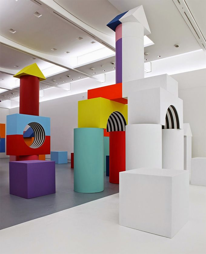 Madre contemporary art museum's, Child's Play, created by the 77-year-old French artist Daniel Buren.  échelle/ludique/opposition/colorer/incolore
