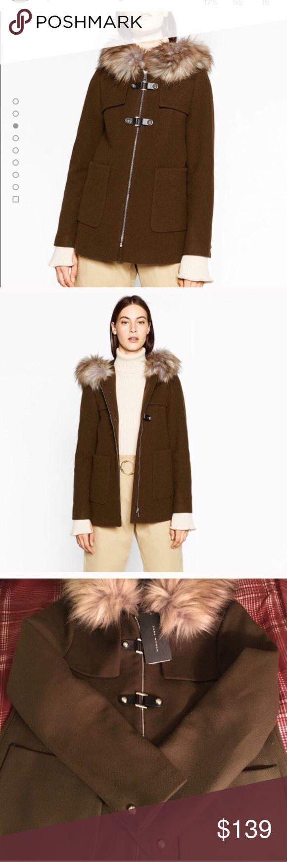 Zara Woman Duffle Coat Brand new with tags, never worn, Khaki color, super cozy with fur around its hood❤ Zara Jackets & Coats