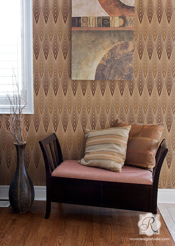 African Plumes Allover Wall Large Stencil by royaldesignstencils