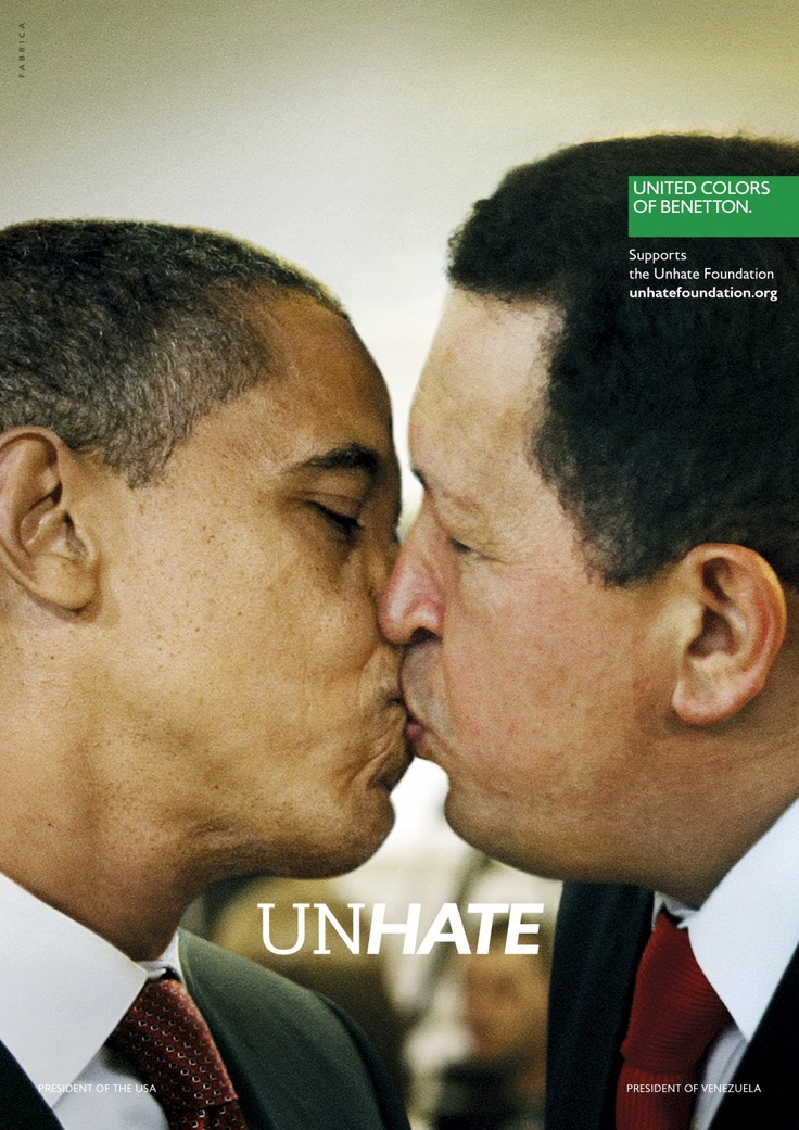 UNHATE - United Colors of Benetton.G1. Questions current standards in society. Promotes equality and end of discrimination