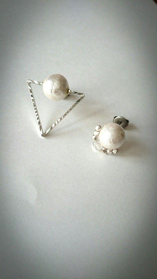 cotton pearl × triangle pierced earrings...*