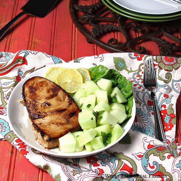 Pan Seared Tuna Steak with Gingered Melon