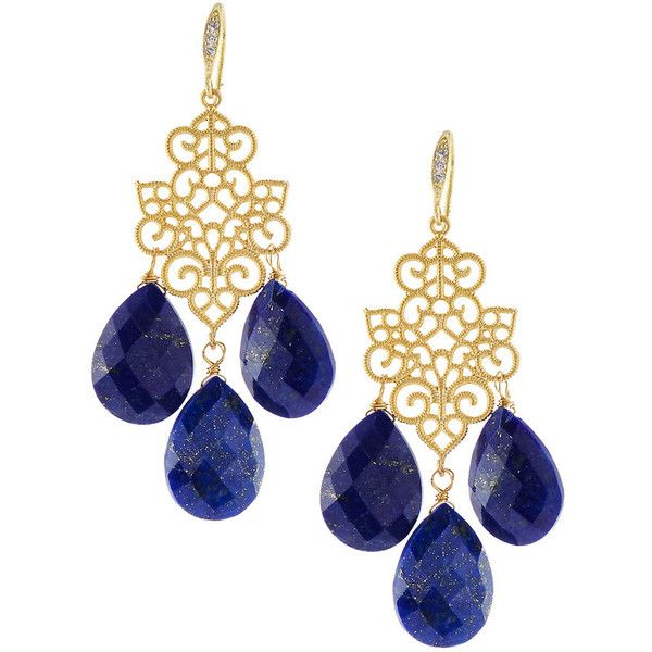 Indulgems Lapis Filigree Chandelier Earrings ($90) ❤ liked on Polyvore featuring jewelry, earrings, blue, 18k earrings, chandelier jewelry, indulgems, 18 karat gold earrings and chandelier earrings