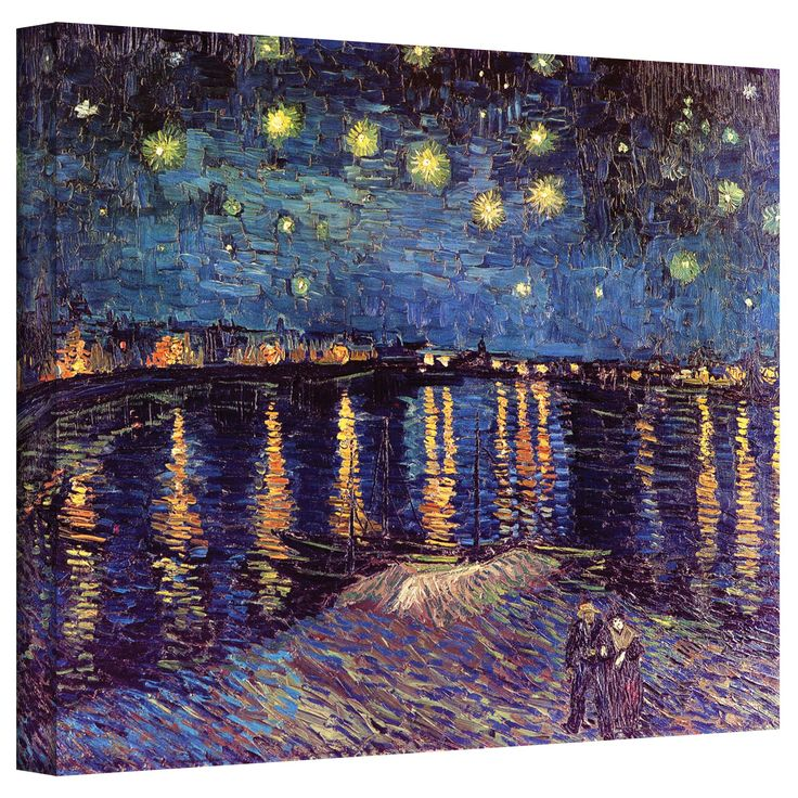 'Starry Night Over The Rhone' by Vincent Van Gogh Canvas Painting Print