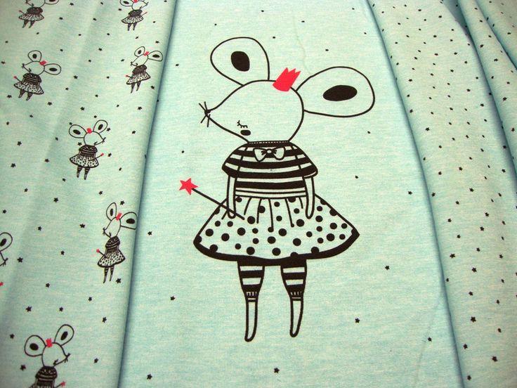 Kinderstoffe - JERSEY Panel Maus mit Krone u. Zauberstab 60 x 160 - ein Designerstück von MODEATELIER-HILDEGARD bei DaWanda