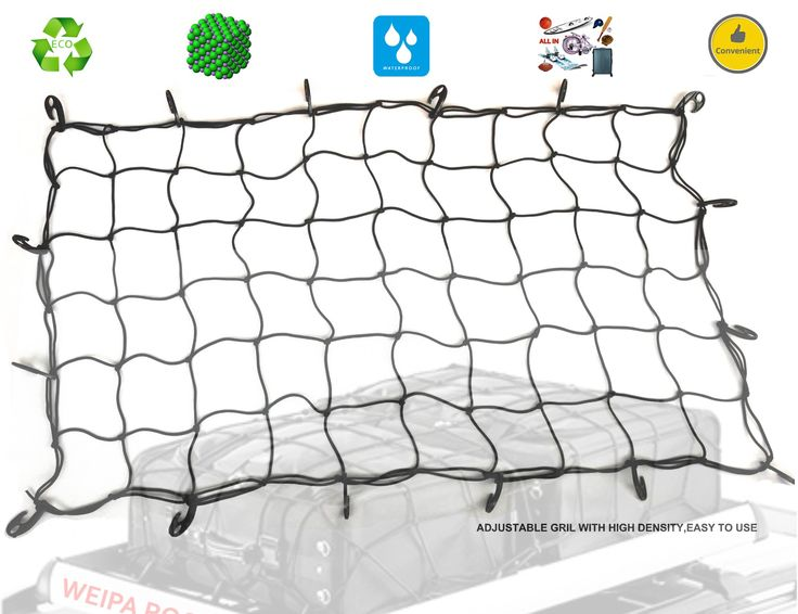 "Cargo Nets Roof Kindax 30""x60"" Bungee Cord Net with16 big removable Hooks Stretches to 45""x90"" for the Secure Carrying on Roof Luggage Rack Cargo Carrier Basket or Pickup Truck Bed"
