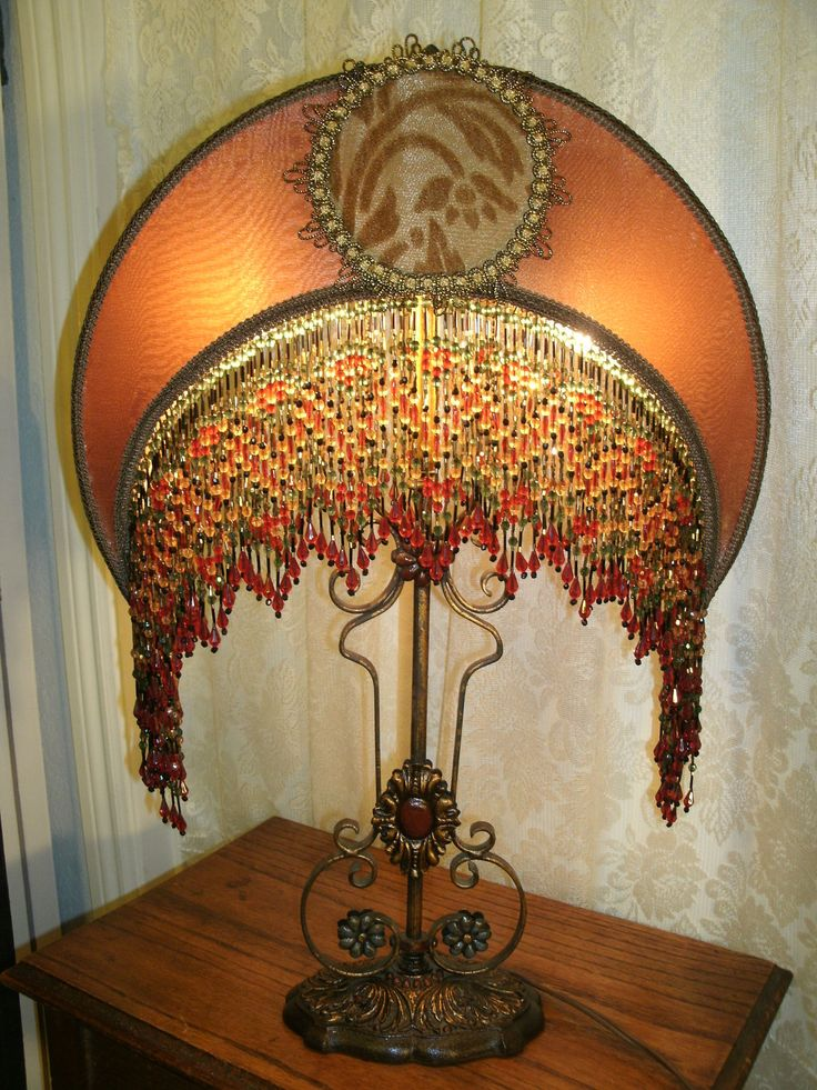 Vintage lamp base has bronze gold crescent moon lamp shade for Antique floor lamp with fringed shade