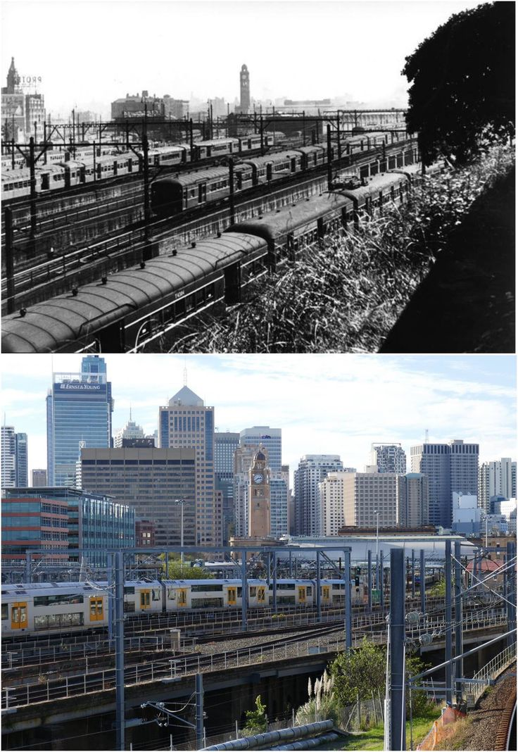 Looking north toward Central Station clock tower from Prince Alfred Park, 1950 > 2016. [City of Sydney Archives > Kevin Sundgren. By Kevin Sundgren.