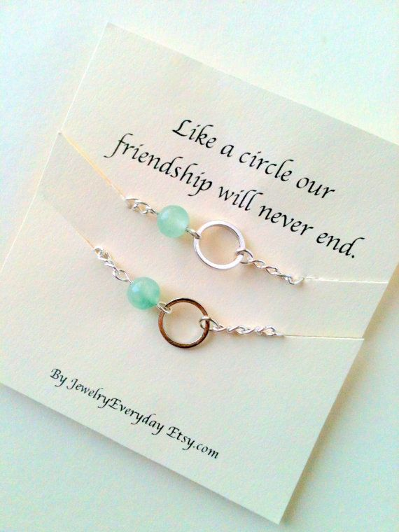Best Friend, Mother Daughter Necklace or Bracelet Gift Set, Bead and Circle for Forever Love, Friendship, Pink, Green, Blue, Purple Beads