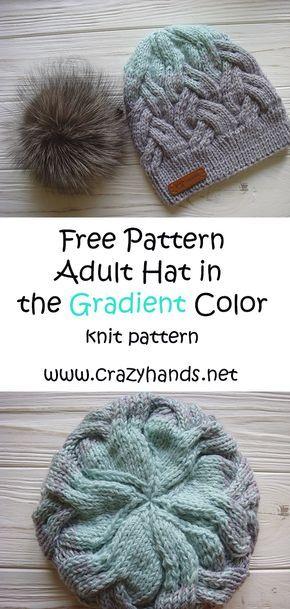 Chapéu adulto tricô padrão na cor de gradiente