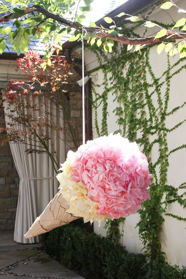 DIY Ice Cream Party Ideas: garland, party hats, pinata, gift tags, balloons, lanterns, costumes and everything else you need for your next party!: DIY Giant Ice Cream Cone Pinata