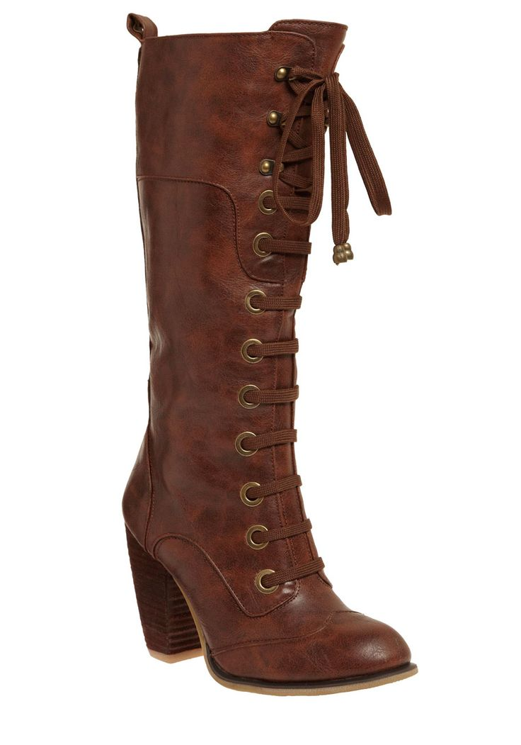 Prospectress Boot - Tan, Solid, Urban, Fall, Winter, Steampunk, Faux Leather, Lace Up, Mid