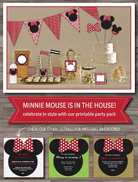 Minnie Mouse Party Pack, Minnie Party, Girls Party, Minnie Baby Shower, Party Supplies - Digital files, INSTANT DOWNLOAD on Etsy, $16.67 AUD