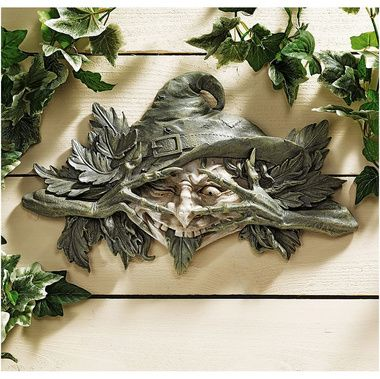 For my (someday) cottage, greenhouse/workshop.  The Poison Ivy Forest Witch: Greenman Wall Sculpture