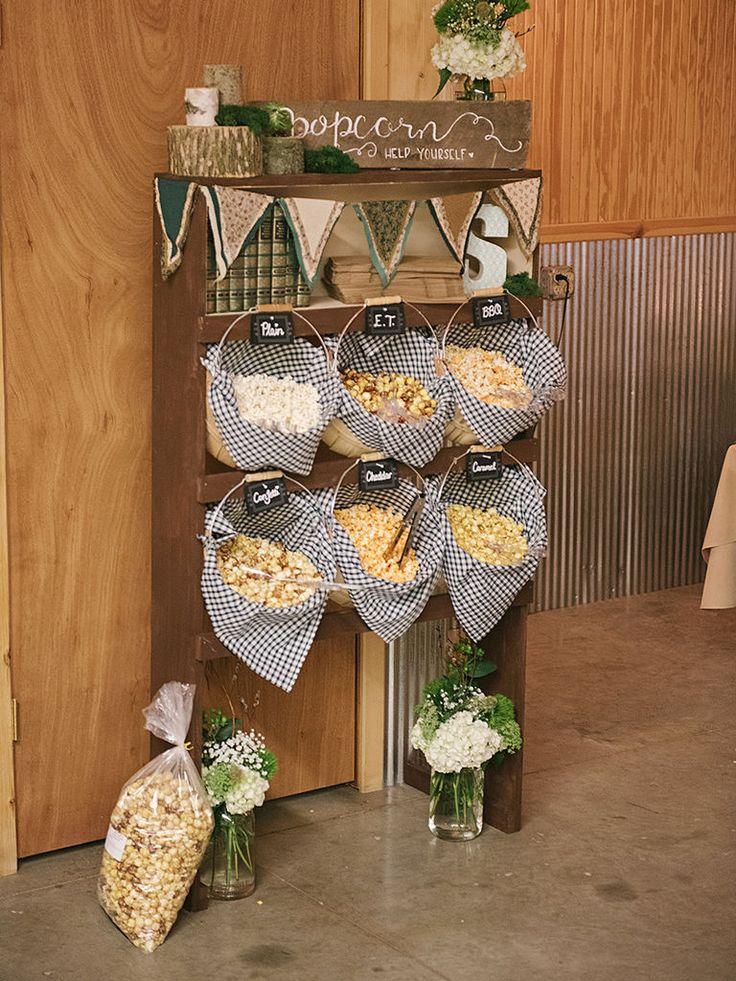 Best wedding popcorn bar ideas on pinterest