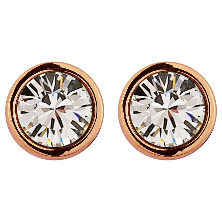 Dyrberg/Kern Noble Medium Swarovski Crystal Stud Earrings, Rose Gold