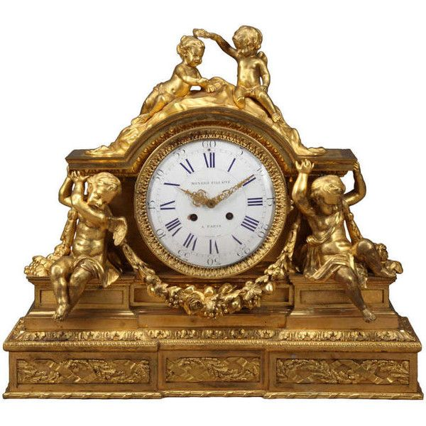 french napoleon iii gilt bronze mantel clock 22800 liked on polyvore featuring home - Mantel Der Ideen Mit Uhr Verziert