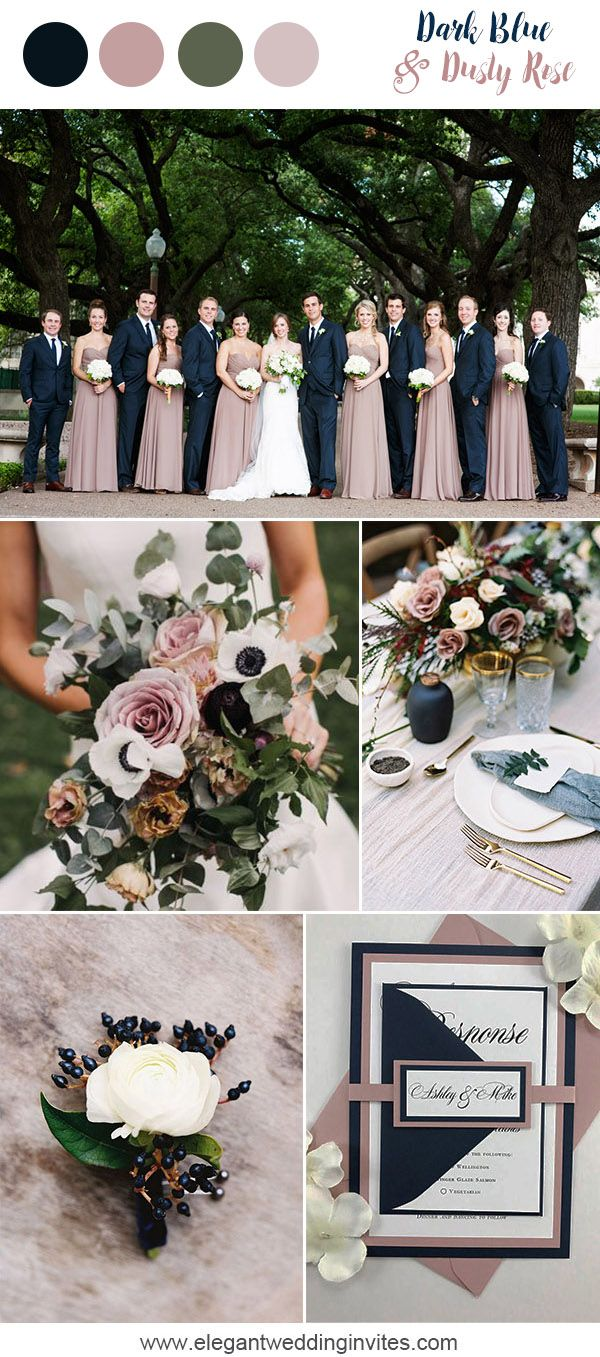 dark blue and dusty rose romantic garden wedding colors for 2018 trends