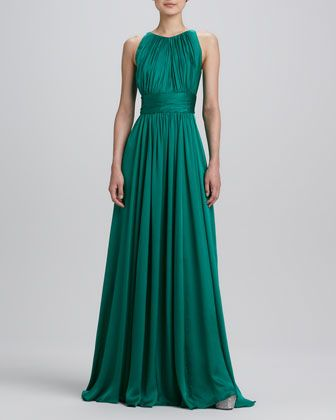 Sleeveless+Pleated+Gown+by+Badgley+Mischka+at+Neiman+Marcus.