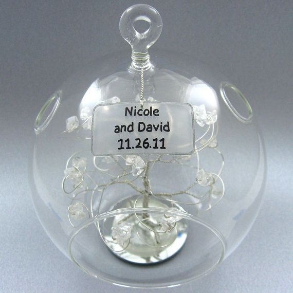 Personalized Christmas Ornament Wedding Gift Keepsake Gemstones Or Swarovski Crystal Elements On Etsy