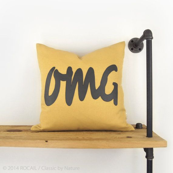 Outdoor pillow - Mustard yellow pillow - Summer decor - OMG applique in yellow and gray - Word decorative pillow cover - 18x18 accent pillow on Etsy, £32.04