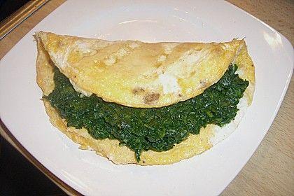 Spinat - Omelette mit Frischkäse