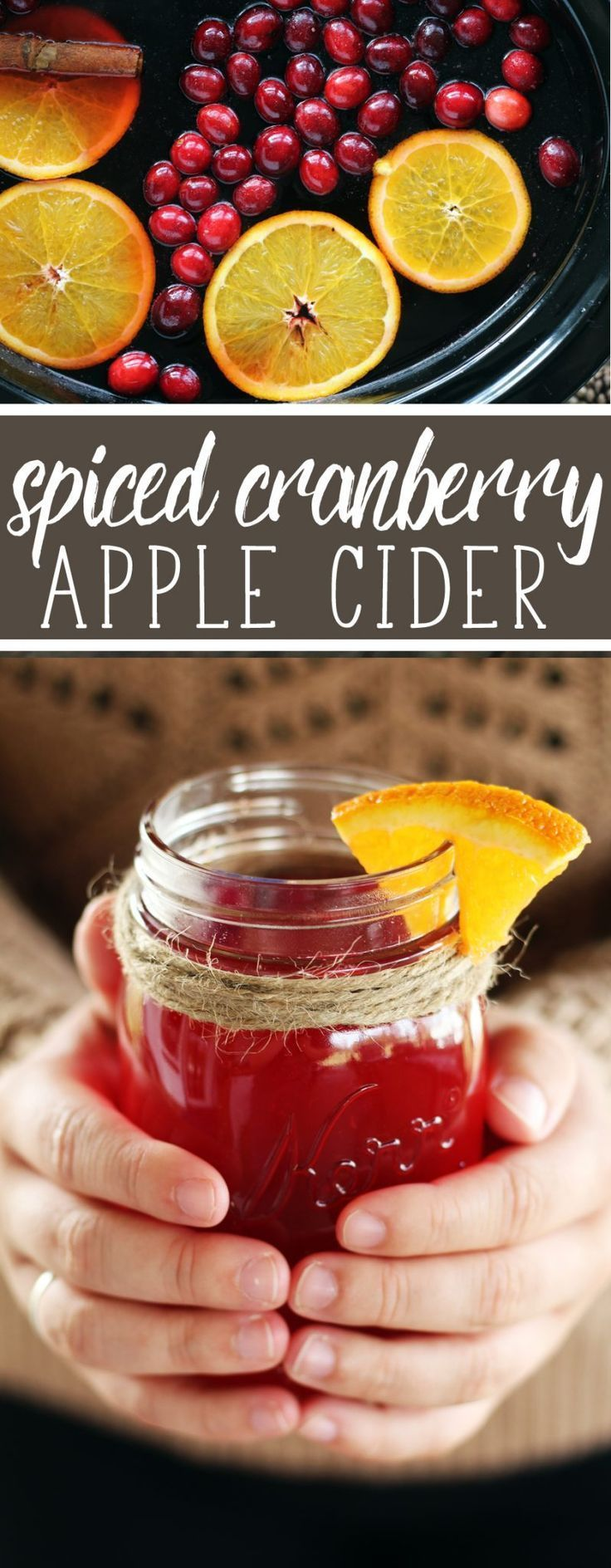 Warm, tart + sweet, this cinnamony cozy Spiced Cranberry Apple Cider will be a forever favorite for the holidays.