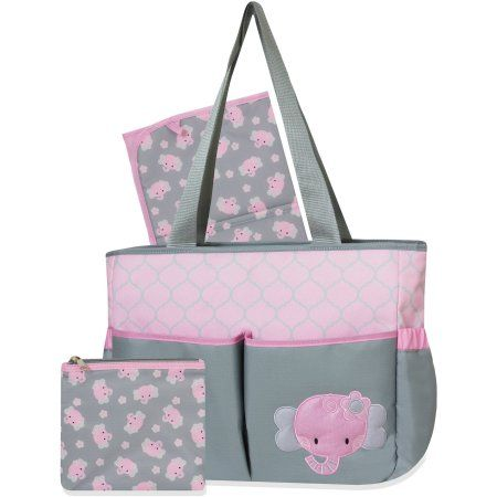 Tender Kisses Elephant Diaper Bag Set with Bonus Zipper Pouch - Walmart.com