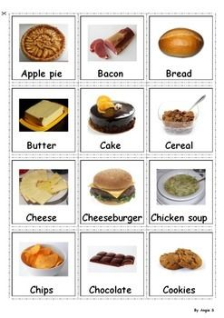 Food Cards to help ESL students learn different types of food.