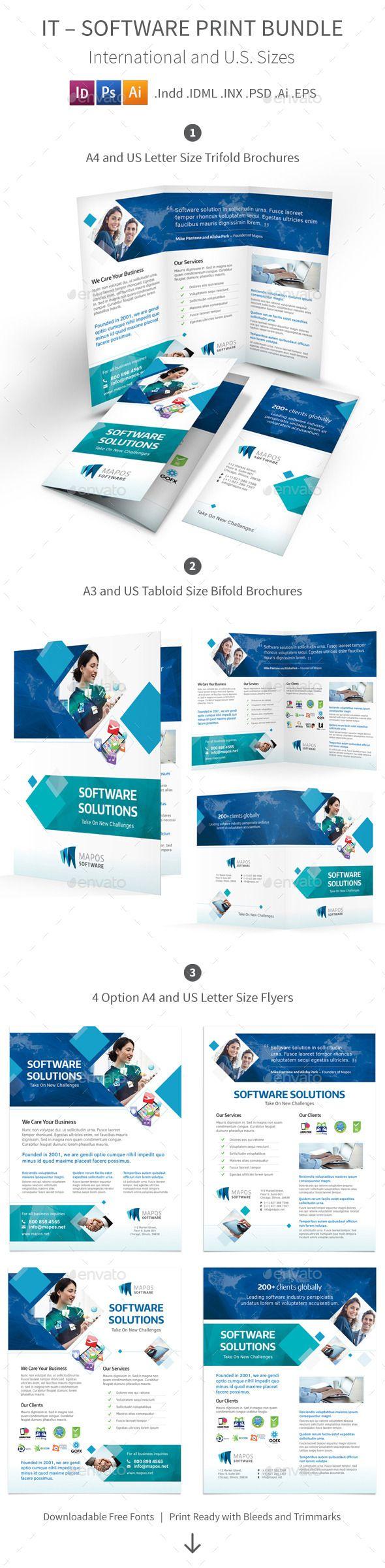 IT – Software Brochure Print Bundle Template