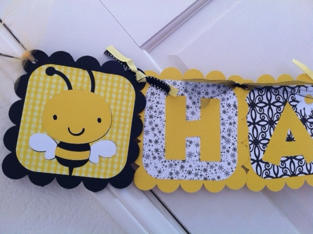 Buzzy Bumble Bee Birthday Banner 2500 Via Etsy