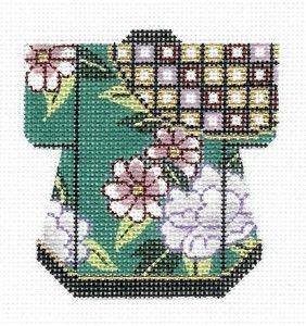 LEE Teal Oriental Petite Kimono handpainted Needlepoint Canvas