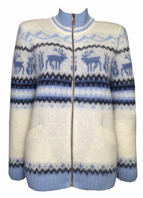 Soft Warm Zip Through T Neck Wool Cardigan For Women Rain Deer Design #Unbranded #TNECK #EVERYDAY