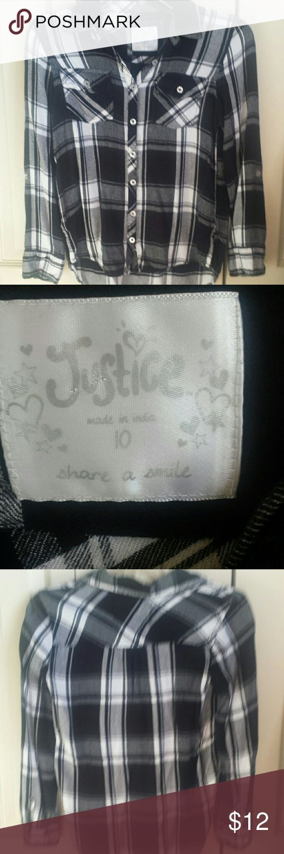 Justice shirt Just the style! Very nice, hardly worn black and white soft shirt from Justice Justice Shirts & Tops Blouses