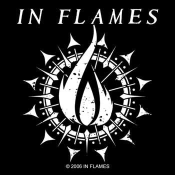 In flames band in flames flame logo band sticker