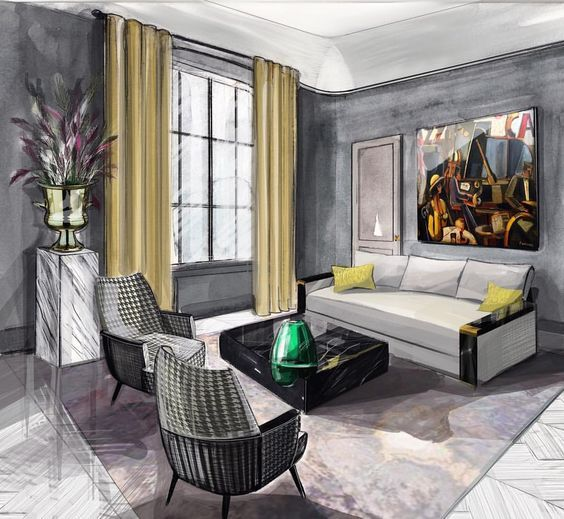 Living Room 507 Of 507 Best Interior Drawing Images On Pinterest Interior