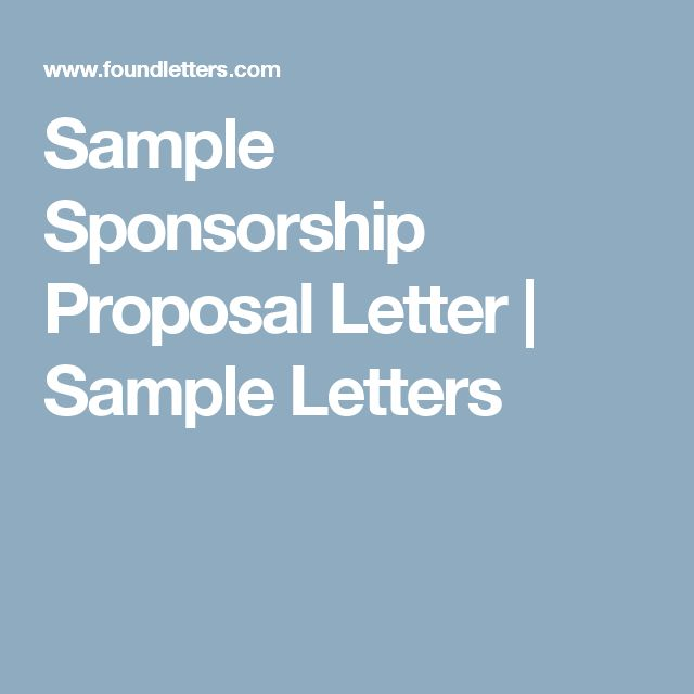 Sample Sponsorship Proposal Letter | Sample Letters