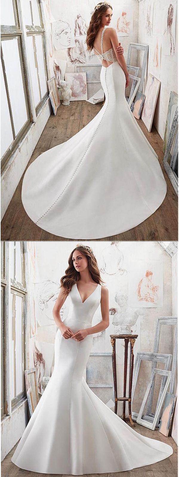 Junoesque Tulle & Satin V-Neck Mermaid Wedding Dresses With Embroidery & Beadings