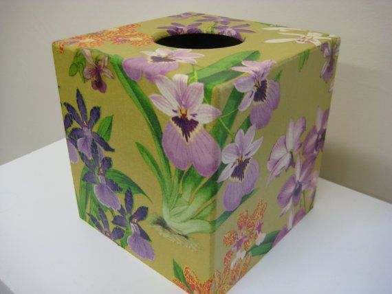 Orchid Wooden Tissue Box Cover perfect by Crackpots - Gift Handmade, Wooden, Decoupage