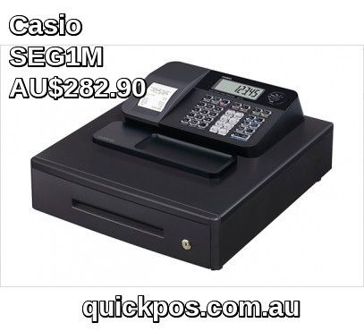Buy Latest Casio se-g1m Ecr is the casio cash register it is the entry level large drawer upgrade of 140CR comes with 8 department keys on board a drop in thermal receipt printer that prints tax invoice receipts and a large rear LCD display at QuickPOS. #QuickPOS #CasioCashRegister #http://www.quickpos.com.au/cash-registers/casio-cash-registers-casio-se-g1m-ecr-seg1m.html