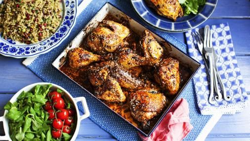 Oven-roasted chicken with sumac, pomegranate molasses, chilli and sesame seeds