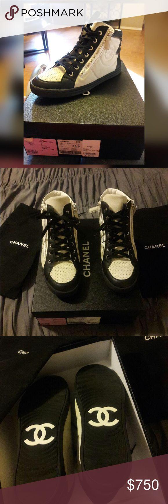 Chanel Tennis🎉SALE 12/3/16🎉 Authentic NWT Black & White Chanel High Top Tennis Shoes CHANEL Shoes Athletic Shoes