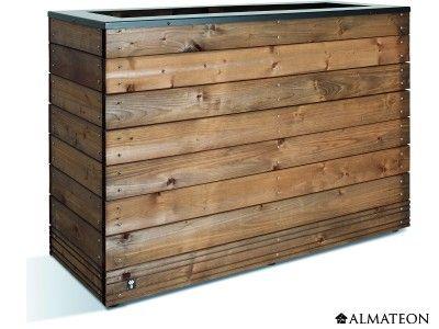 Bac à fleurs design, en bois d'épicéa. Grande capacité de 179 litres.