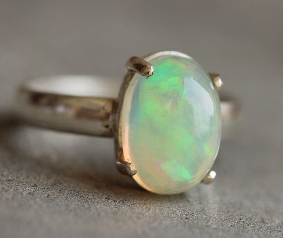 Ethiopian opal ring - Natural Opal Ring - Gemstone Artisan ring - October birthstone -Prong - Gift for girlfriend - Christmas gift ideas