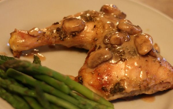 Herbed Chicken Leg Quarters with Mushroom Sauce - made this tonight for dinner and it was DELICIOUS!!!!!