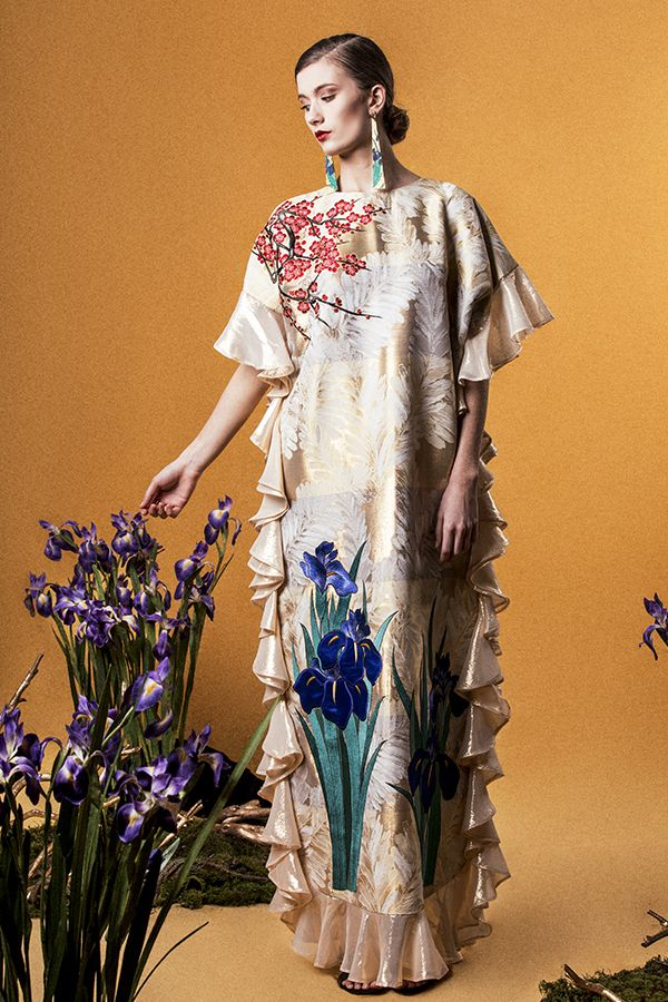"Yumi Katsura/ ""GLORIOUS RIMPA"" SS2015 LONG IRIS EMBROIDERED DRESS"