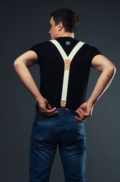 White suspenders for jeans, denim pants, sports jackets, t-shirts and sport shirts.