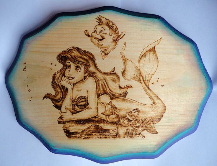 """Little Mermaid"" ~Woodburning"