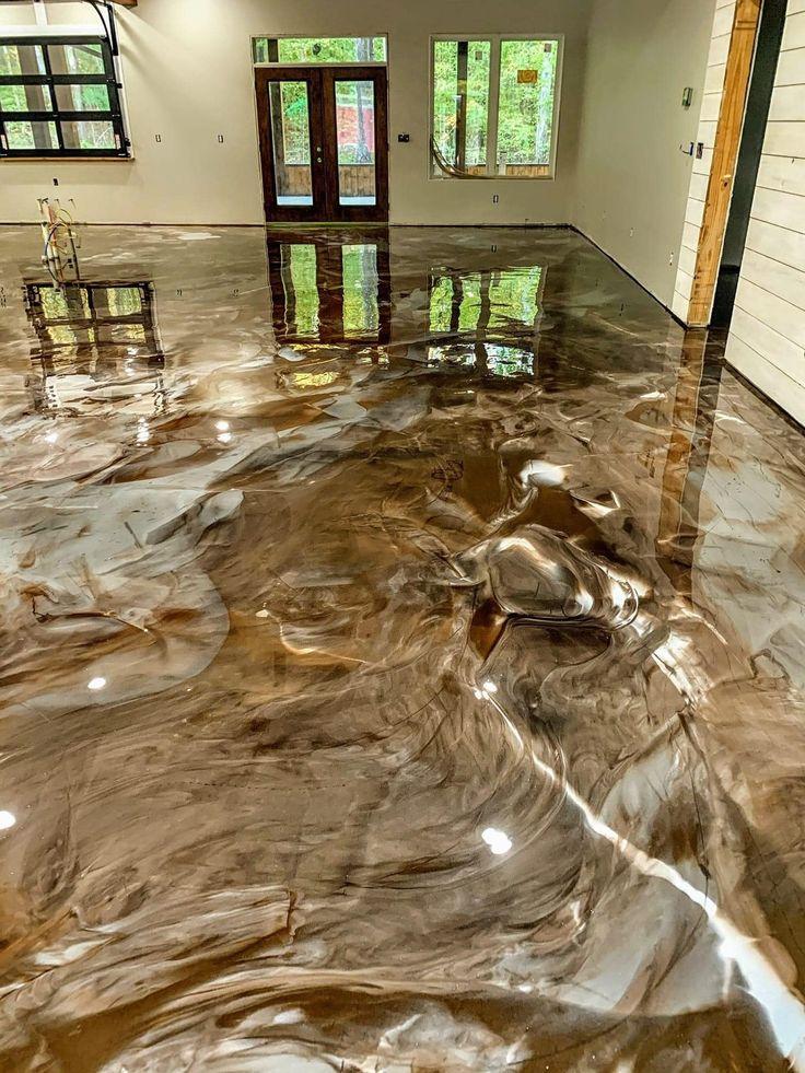 Incredible brown metallic epoxy floor! in 2020 Metallic